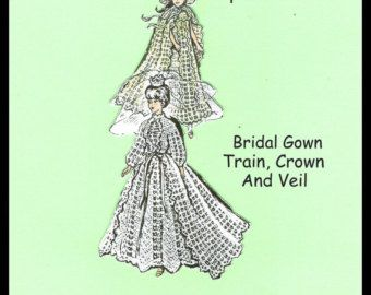 """Crochet Bride And Bridesmaid's Gowns - For 11 1/2"""" Dolls - Bridal Gown - Train, Crown And Veil - Bridesmaid's Gown, Cape And Hat"""