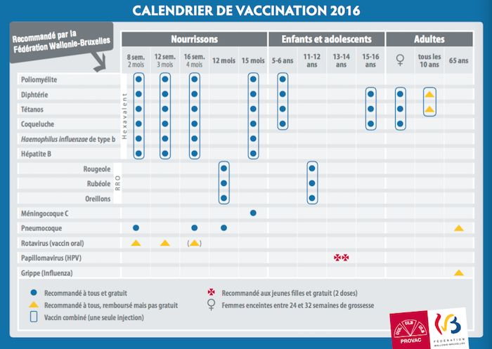 calendrier vaccination 2016