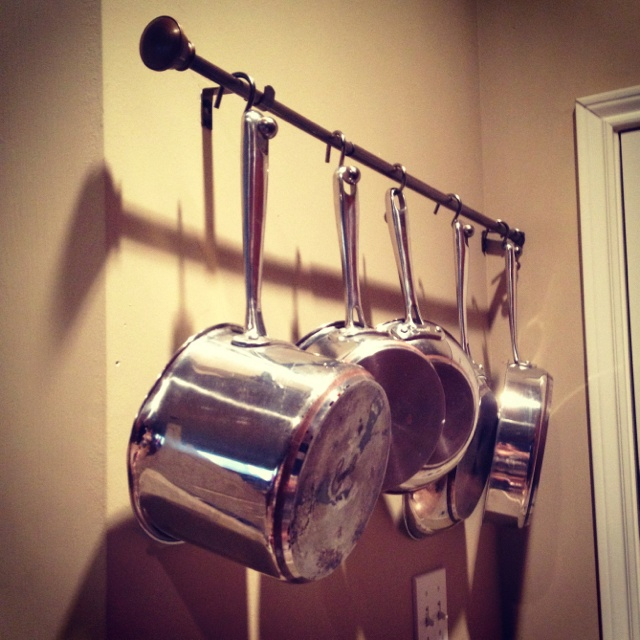 diy pot and pan rack for wall hang a curtain rod with decorative shower curtain hooks