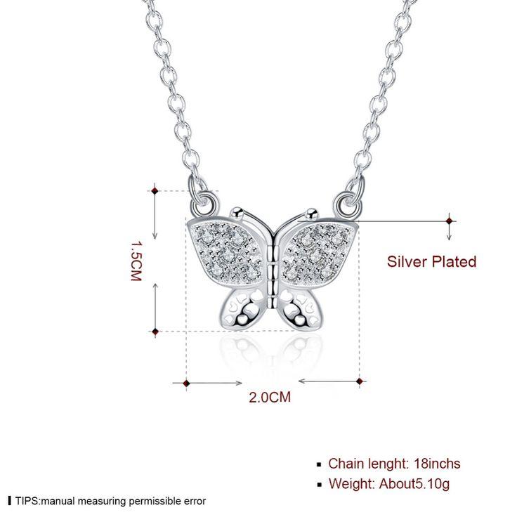 N405 925 серебряное ожерелье подвески Прекрасная бабочка с кристалла каменной кулон ожерелье для женщин свадебные украшения купить на AliExpress
