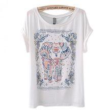 NO 1 Nouvelles Femmes de Mode Animale Européenne Éléphant Vintage Ras Du Cou À Manches Courtes T-Shirt T Tops Shirt 693D(China (Mainland))