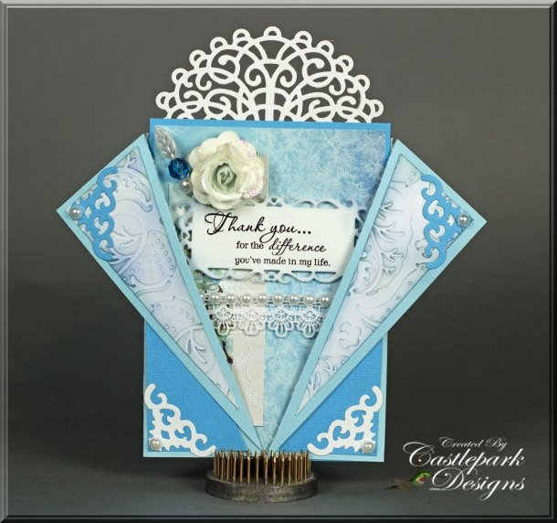 Blue and White Thank You Card