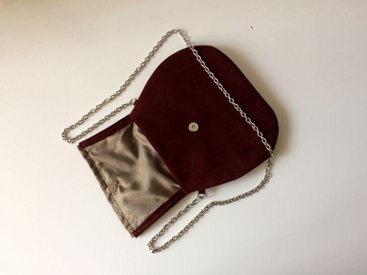 Pochette borsa pelle regali natale in negozi italiani, pochette da sera, borsa marrone con tracolla metallo pelle scamosciata interno raso di BBagdesign su Etsy
