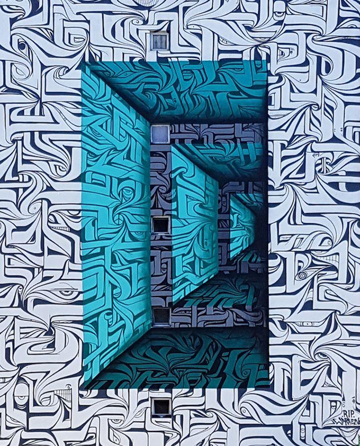 Waar we hier vorige week nog zagen hoe een street artist saaie Franse dorpjes tot leven wekt met levensechte tekeningen zien we bij het werk van Astro juist hoe hij de ene optische illusie na de andere maakt op flatgebouwen in Loures, ten zuiden van Lissabon. Ze zijn zelfs zo gaaf dat het af en …