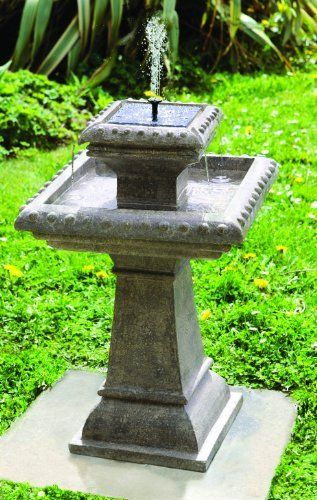 Beau Small Solar Powered Water Feature   Grey Resin Birdbath Water Fountain    Pizzaro Style. Outdoor