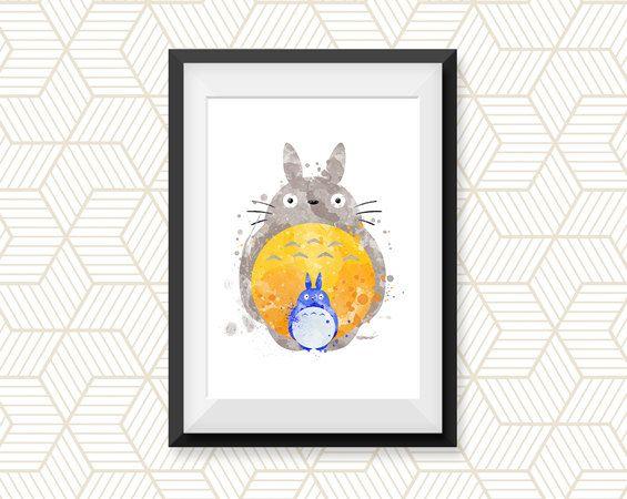 Mon voisin Totoro aquarelle Fine Art tirage par colormykidsroom