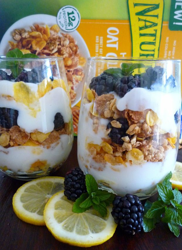 #Poweryourmorning with Nature Valley Honey Oat Clusters Cereal Lemon Blackberry Yogurt Parfaits #ad @publix