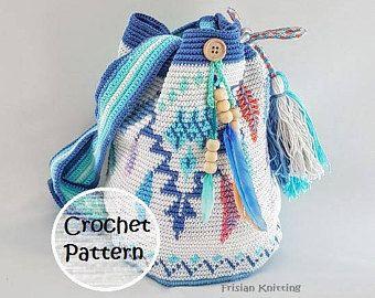Pattern mochila bag // tapestry crochet // Feather bag pattern // Wayuu mochila bag // crochet pattern bag // mochila tas patroon