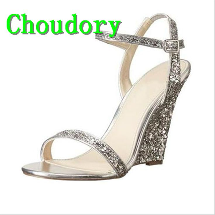 Choudory Ankle Wrap Sexy Dress Bling Mixed Colors New Fashion Women Super High Heels Sandals High Quality Wedges Shoes For Women-in Women's Sandals from Shoes on Aliexpress.com | Alibaba Group