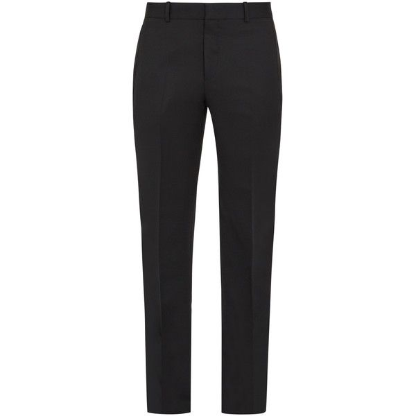 Alexander McQueen Slim-leg mohair and silk-striped tuxedo trousers ($708) ❤ liked on Polyvore featuring men's fashion, men's clothing, men's pants, men's casual pants, black, mens adjustable waist pants, mens tuxedo stripe pants, mens silk pants, mens striped pants and mens tuxedo pants