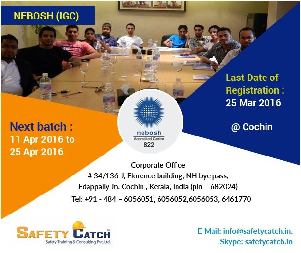 HURRY!!! TODAY IS THE LAST DAY!!! For Online Registration: www.safetycatch.in #SafetyTraining #NEBOSHTraining