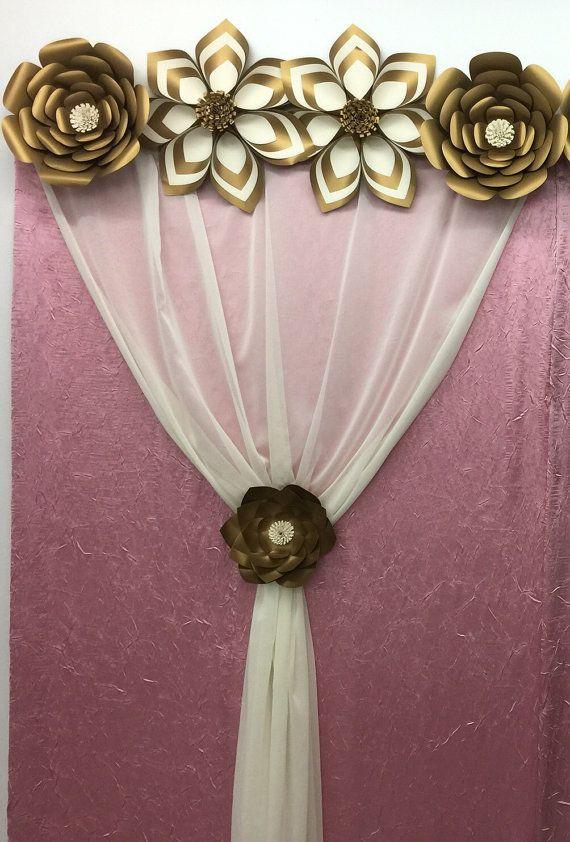 Papel flor-fondo-Prop foto stand-boda telón de