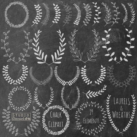 Couronne de Laurier Clipart la craie main par StudioDenmark