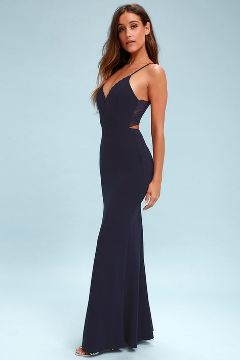 d7633206a7e A picture-perfect evening begins with the Love Story Navy Blue Backless  Lace Maxi Dress! Stunning stretch knit starts at a triangle bodice