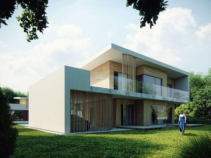 Bryła budynku zaprojektowana na rzucie prostokąta z rozczłonkowaną elewacją ogrodową i dużymi przeszkleniami w salonie i jadalni.