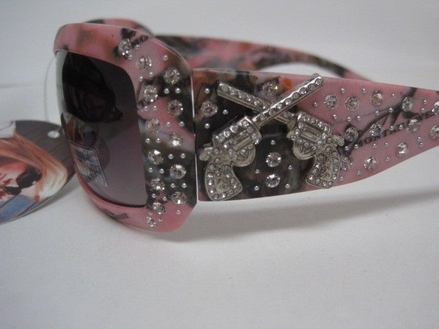 Montana West Pink Camo Sunglasses Rhinestones Double Gun Accent with Camo Case