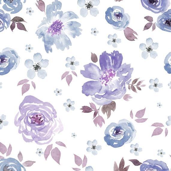 Roxi Watercolor Wallpaper Modern Purple Floral Wall Etsy Watercolor Wallpaper Floral Wallpaper Flower Iphone Wallpaper