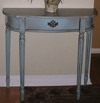 Antiquing furniture with glaze…Stratton Blue HC-142 in Benjamin Moore paint as  base color....a great blue with a bit of turquoise underneath