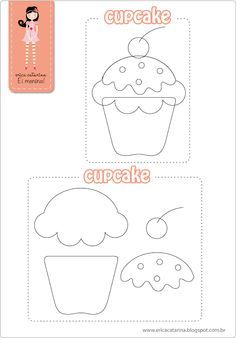 DIY Felt Cupcake - FREE Pattern / Template for FIVE CUPCAKES IN A BAKER'S SHOP