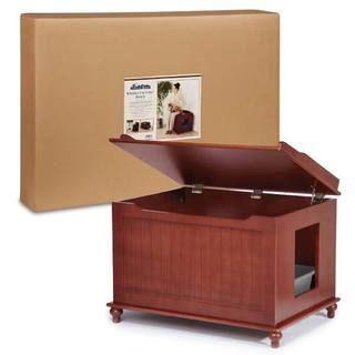 Merry Products Walnut Cat Hidden Litter Box Furniture Bench | Overstock.com Shopping - The Best Deals on Litter Boxes