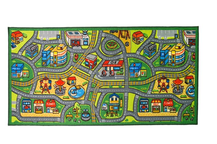 Happy Town Play Mat in multicolour with free delivery- A rug intended for children to play with! This bright and cheerful, multicoloured, town map design features shops, a park, petrol station and cafe within a green border. Made in 100% … Read More