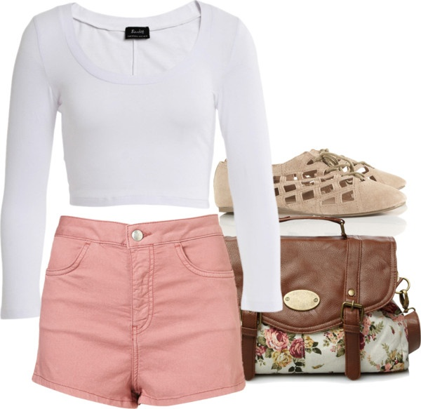Eleanor inspired outfit for lunch Bardot crop top, $31 / Hot shorts / Flat leather shoes / Leather bag, $19