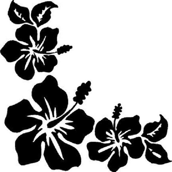 3 Hibiscus Flowers Corner Window Decal Etsy In 2020 Flower Silhouette Flower Art Hibiscus Flowers