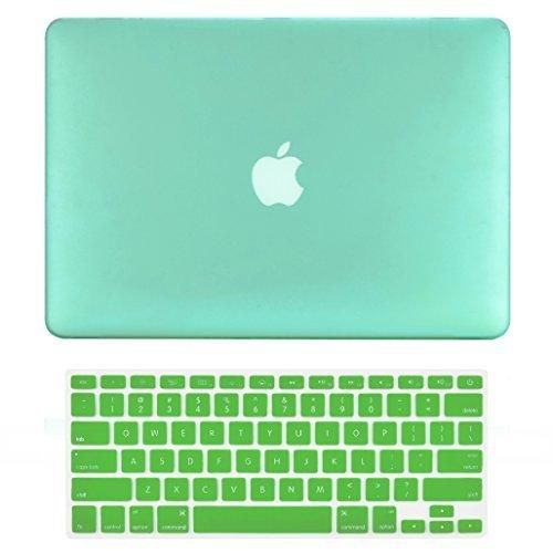 """TOP CASE - 2 in 1 Bundle Deal Air 13-Inch Rubberized Hard Case Cover and Matching Color Keyboard Cover for Macbook Air 13"""" (A1369 and A1466) with TopCase Mouse Pad - Green"""