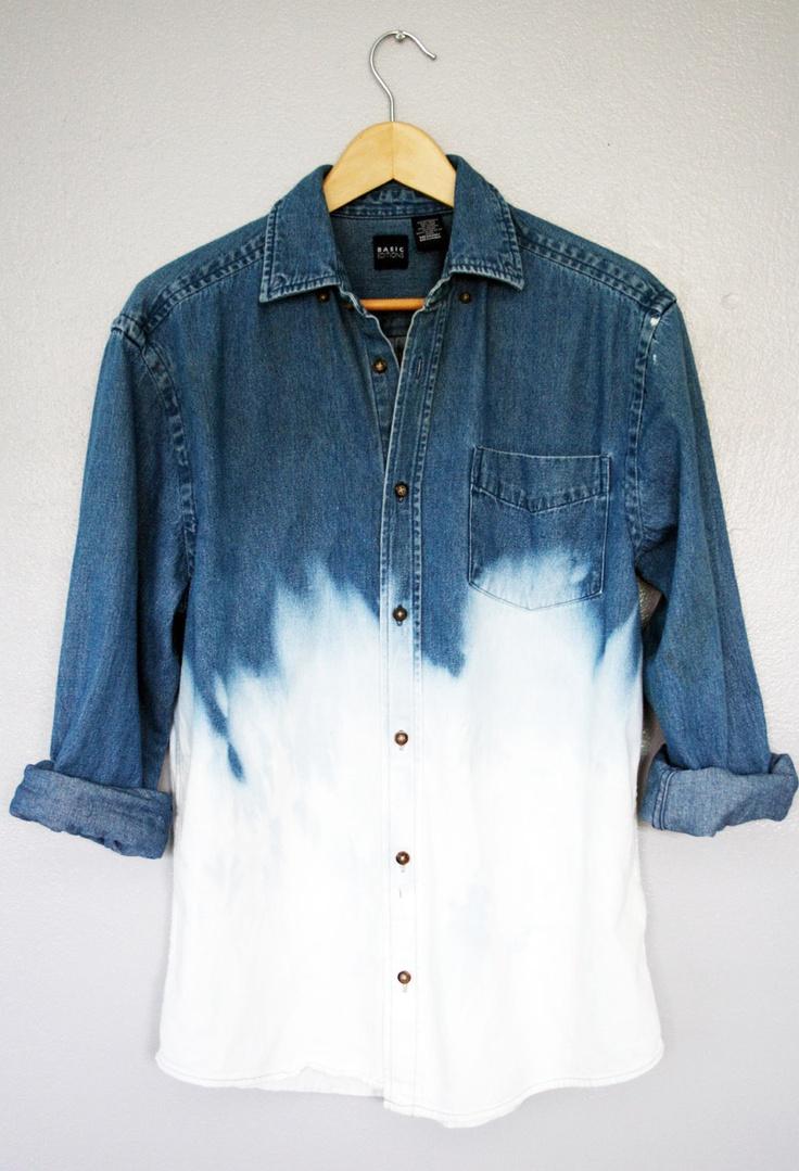 90s Grunge Unisex Dip Dye Ombre Bleached Denim Long Sleeve Shirt Top Oversized. $59.00, via Etsy.
