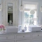 Funky Shabby Chic Light for Bathroom with Sweet All in White