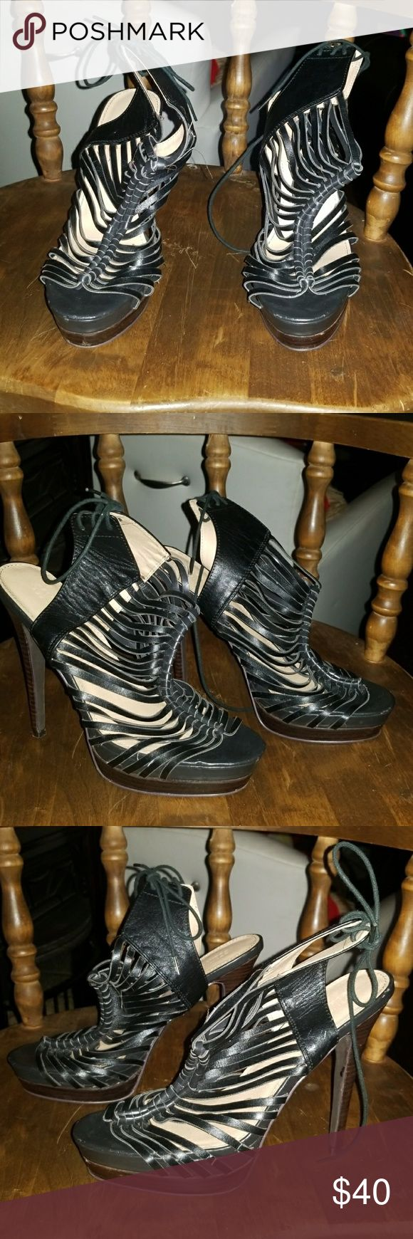 "Colin Stuart blk hi heel shoes Colon Stuart blk 6"" tie up back,peep toe heel out women's shoes. Colin Stuart Shoes Heels"