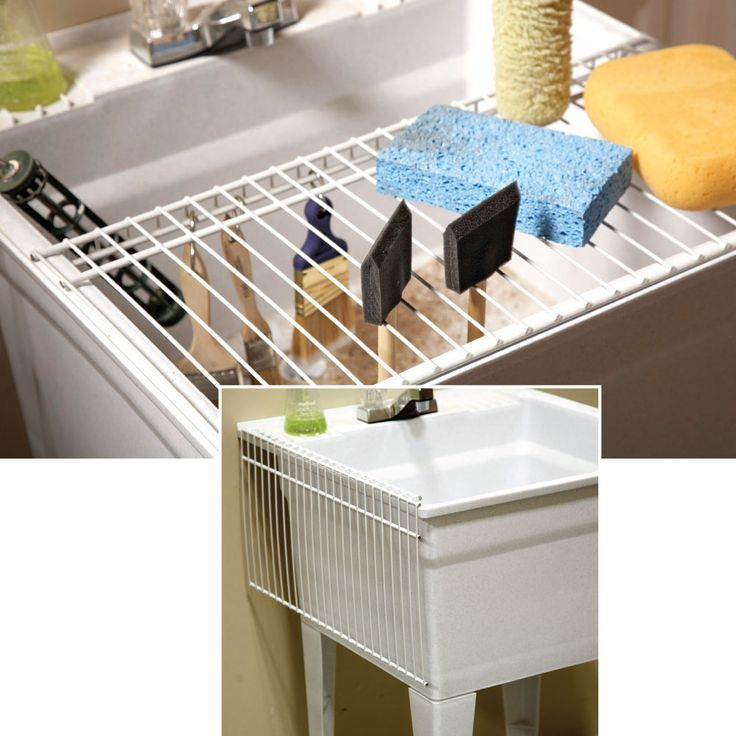 Cut a section of leftover wire shelving and set it over the front of your utility sink. It's the perfect place to set items to dry. Hang paintbrushes from S-hooks so they can drip right into the sink. When you're done with the shelf, hang it over the side of the tub so next time it's right at hand.