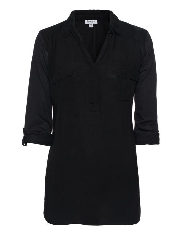 Bluse im Materialmix Lässige Basics mit Twist von Splendid kann man nie genug haben...  Gerade geschnittene schwarze Bluse im Material-Mix aus einer Rayon-Front sowie einem hochwertigen Baumwoll-Modal-Gemisch mit femininem V-Ausschnitt, zwei Klapp-Brusttaschen und 3/4-Ärmeln mit Ärmel-Laschen.  Perfekt für warme Frühlingstage!