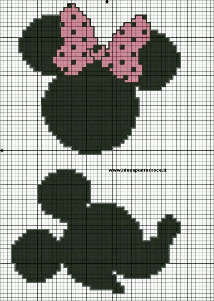 Grille Silhouette Minnie Mickey Grilles Pour Tricot