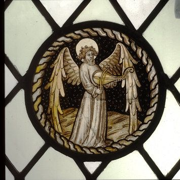 Stained glass roundel, England, ca. 1420-1440. l Victoria and Albert Museum #Christmas #AngelTrail