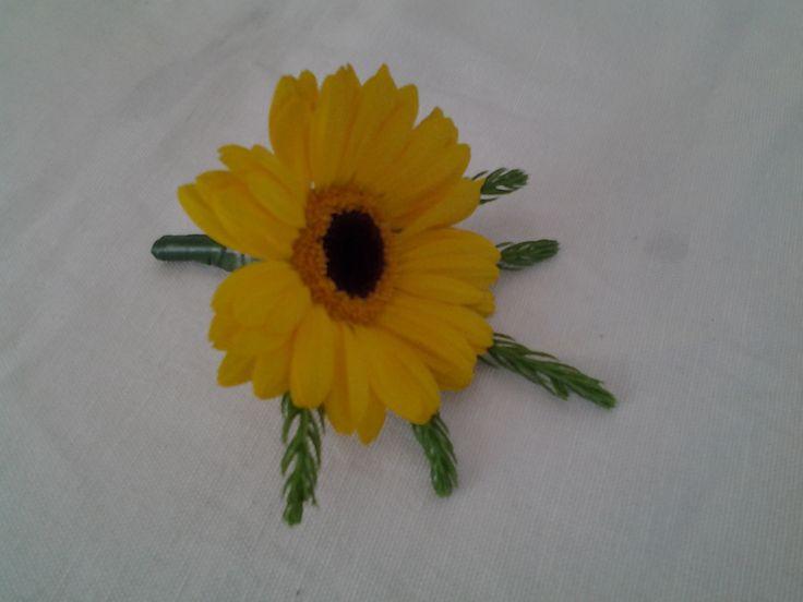 Yellow gerbera button hole