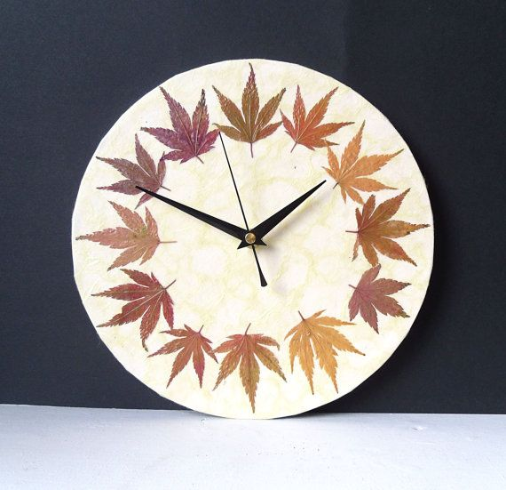 Leaves Wall Clock - Real Acer Leaves - Dried Pressed Autumn Fall Leaves Woodland Botanical Decoupage Clock