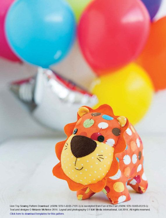 Lion Toy Sewing Pattern Download by StitchCraftCreate on Etsy
