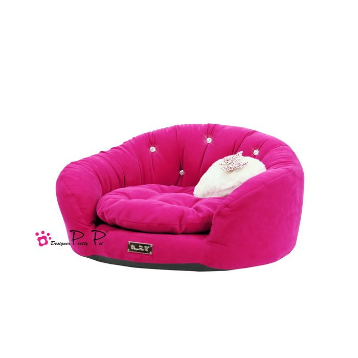 Velvet Round Couch Dog Bed in Hot Pink £84.99 #dogbed #dogcouch #hotpink #pinkdogbed