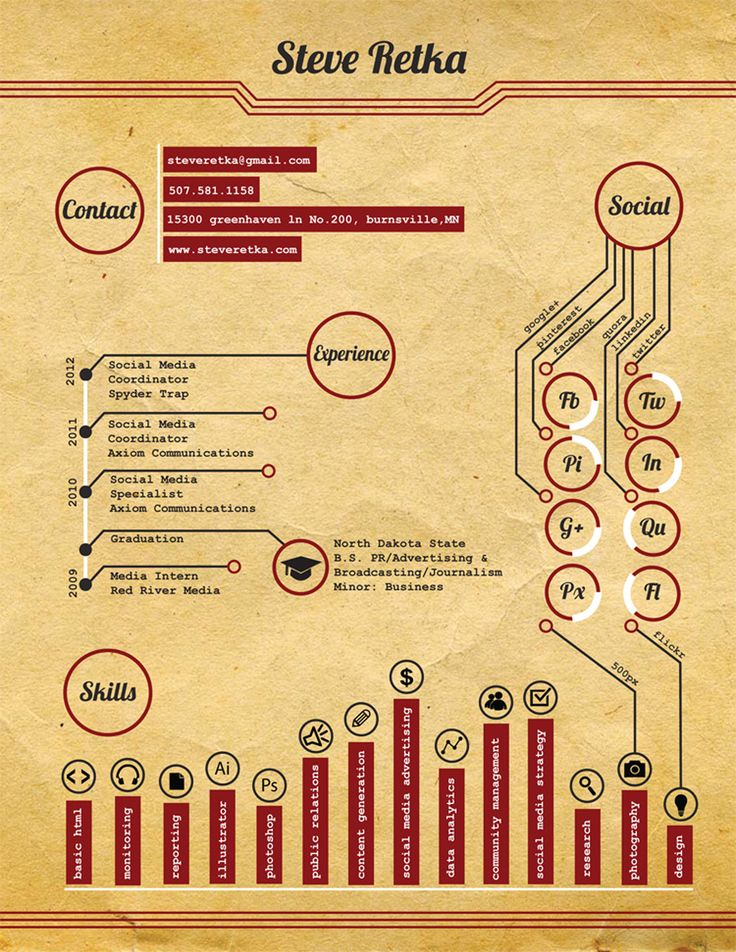 """A resume infographic I created, which was published in the 2015 book """"The Infographic Resume: How to Create a Visual Portfolio that Showcases Your Skills and Lands the Job"""" by Hannah Morgan."""