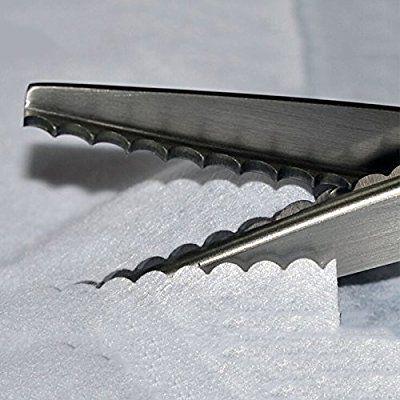 WHATWEARS Fabric Decorative Edge Pinking Shears Scissors Large Scallop Cut 3 5 7mm