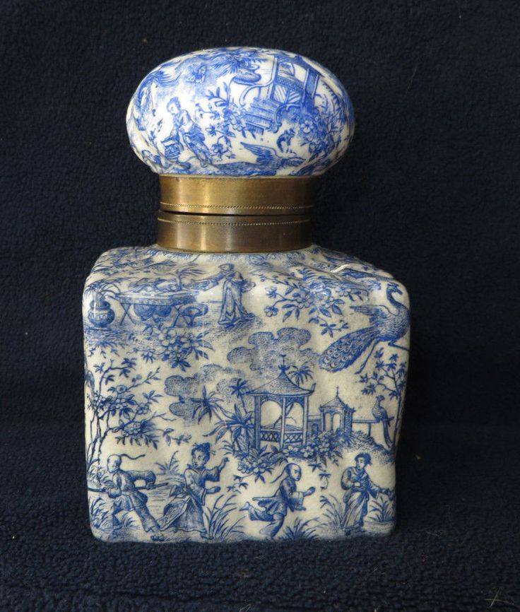 ANTIQUE VICTORIAN BLUE WHITE CHINA PORCELAIN INKWELL ASIAN SCENE  | eBay