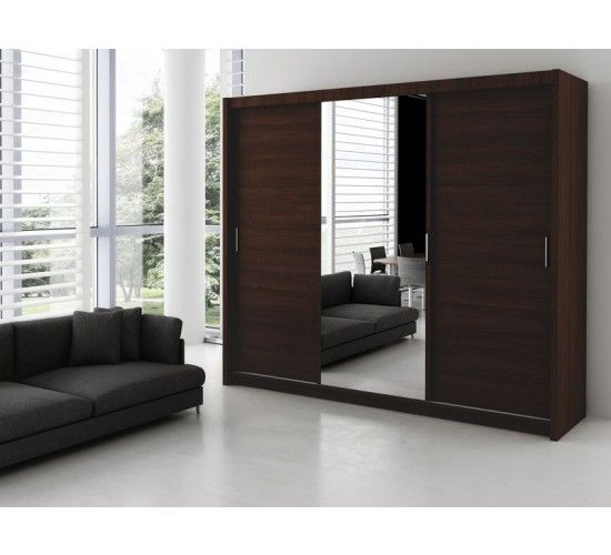 Sliding Door Wardrobe MONAKO  ♦Full length mirror ♦Sleek, minimalist look ♦Hush quiet sliding doors ♦Warm wood-effect  ♦Quality 16mm laminated chipboard ♦Extra suitcase-size storage shelves on top   Dimensions:   Width: 250 cm  Height: 215 cm Depth: 61 cm  Shop: https://www.dakohome.co.uk  #DakoHome #ModernDesign #InteriorDesign #Interior #Quality #Furniture #Sleek #Modern #Wardrobe