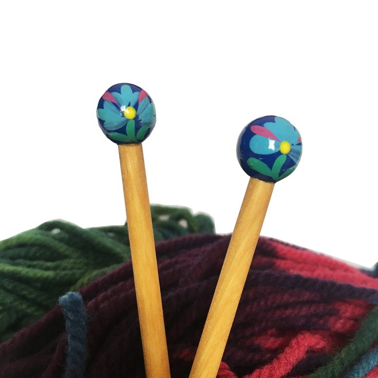 Hand-Painted Wooden Knitting Needles