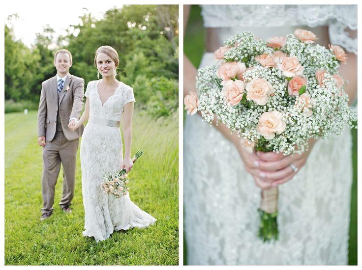 babys breath + carnations wedding bouquet, Kansas City wedding photographer, Heather Brulez Photography