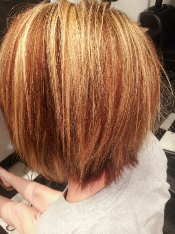 Red And Blonde High And Low Lights Hair Fashion