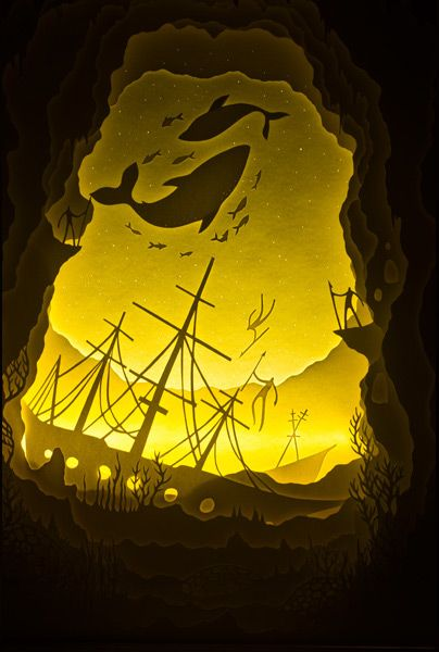 Hari & Deepti | Uncharted Waters.  Hand cut paper illuminated with LED