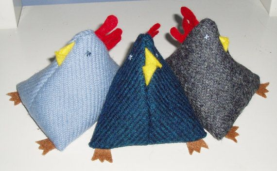 Bean bag chickens, made from a beautiful, 100% woollen tweed woven in the Scottish Borders, with felt comb, beak and feet. Filled with dried, split