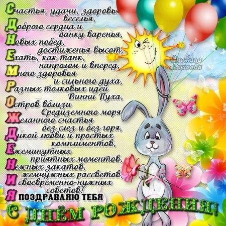 Открытки  Прикольные открытки на день рождения Прикольная открытка на день рождения Милый Зайчик