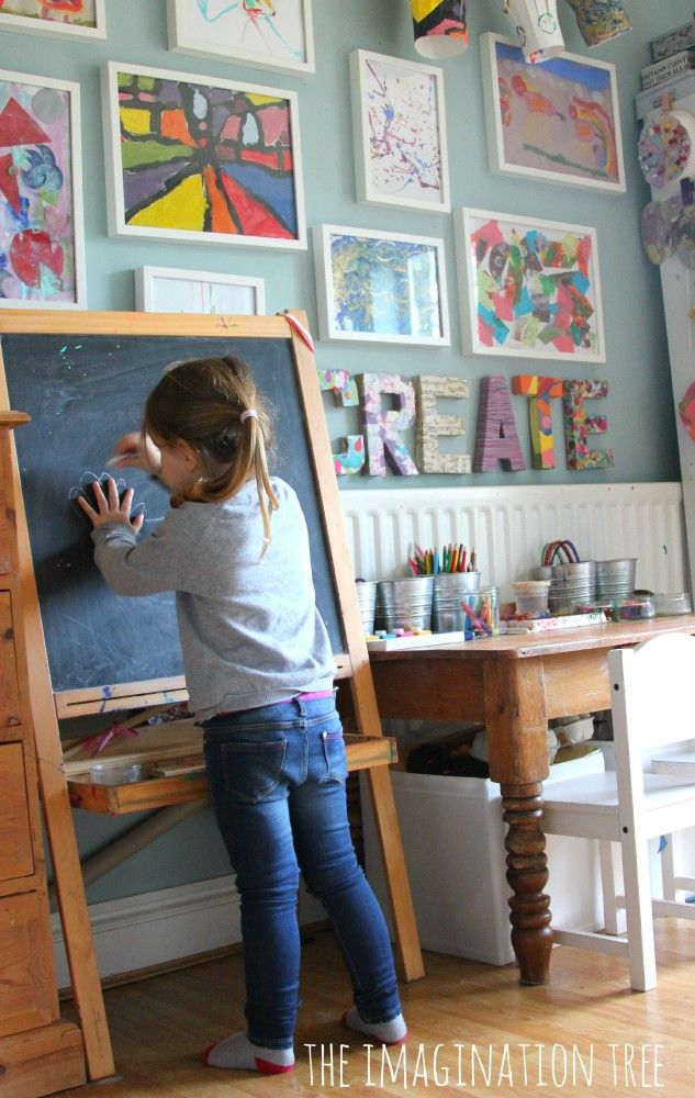 "LOVE this creative space for kids and the art display with the colorful fabric-covered ""Create"""